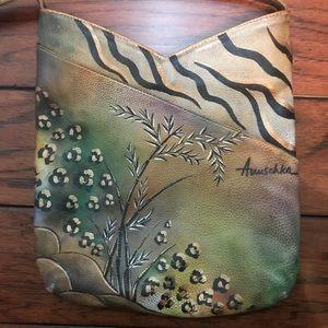 Anuschka Leather Hand Painted Crossbody African